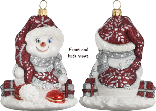 Red and Silver Snowflake Snowman
